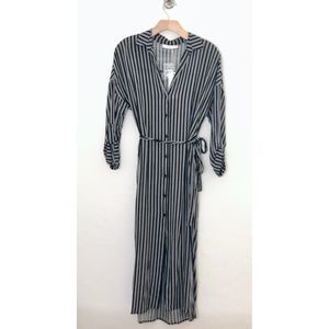 Lush Striped Midi Shirt Dress